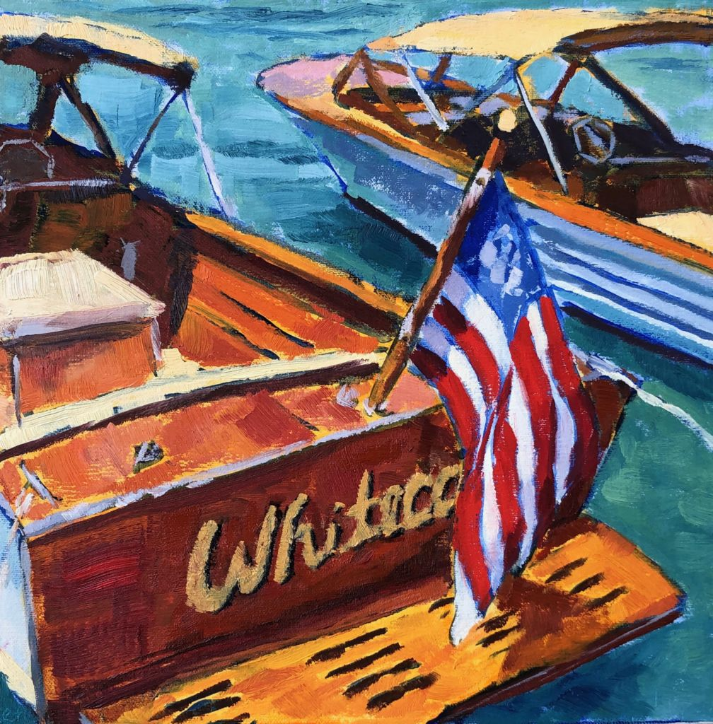 Wooden Boat with Flag